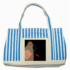 Crazy Abstraction Striped Blue Tote Bag by Valentinaart