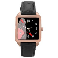 Crazy Abstraction Rose Gold Leather Watch  by Valentinaart