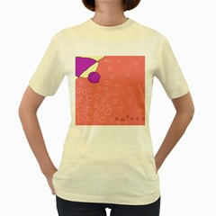 Pink Abstraction Women s Yellow T-shirt by Valentinaart