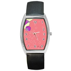 Pink Abstraction Barrel Style Metal Watch by Valentinaart
