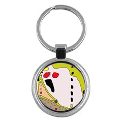 Yellow Abstraction Key Chains (round)  by Valentinaart