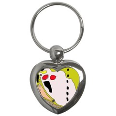 Yellow Abstraction Key Chains (heart)  by Valentinaart