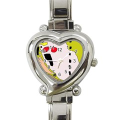 Yellow Abstraction Heart Italian Charm Watch by Valentinaart