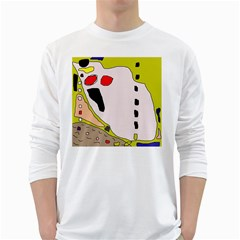 Yellow Abstraction White Long Sleeve T-shirts by Valentinaart