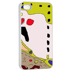 Yellow Abstraction Apple Iphone 4/4s Seamless Case (white) by Valentinaart