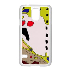 Yellow Abstraction Samsung Galaxy S5 Case (white) by Valentinaart