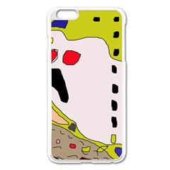 Yellow Abstraction Apple Iphone 6 Plus/6s Plus Enamel White Case by Valentinaart