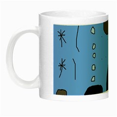 Blue Abstraction Night Luminous Mugs by Valentinaart