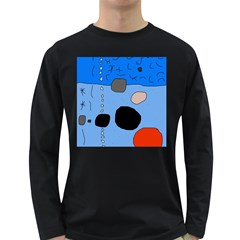 Blue Abstraction Long Sleeve Dark T-shirts by Valentinaart