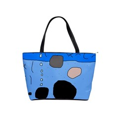 Blue Abstraction Shoulder Handbags by Valentinaart