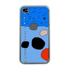 Blue Abstraction Apple Iphone 4 Case (clear) by Valentinaart