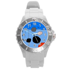 Blue Abstraction Round Plastic Sport Watch (l) by Valentinaart