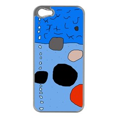 Blue Abstraction Apple Iphone 5 Case (silver) by Valentinaart