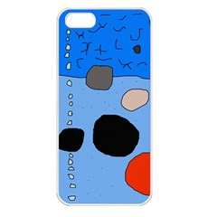 Blue Abstraction Apple Iphone 5 Seamless Case (white) by Valentinaart