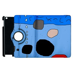Blue Abstraction Apple Ipad 2 Flip 360 Case by Valentinaart