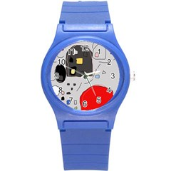 Playful Abstraction Round Plastic Sport Watch (s) by Valentinaart