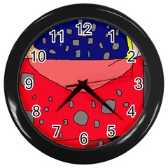 Playful Abstraction Wall Clocks (black) by Valentinaart