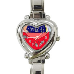 Playful Abstraction Heart Italian Charm Watch by Valentinaart