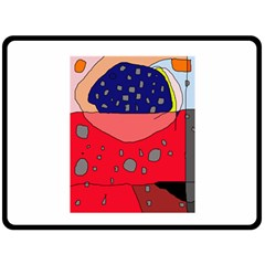 Playful Abstraction Double Sided Fleece Blanket (large)  by Valentinaart