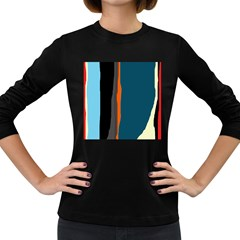 Colorful Lines  Women s Long Sleeve Dark T-shirts by Valentinaart