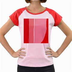 Red And Pink Lines Women s Cap Sleeve T Shirt by Valentinaart