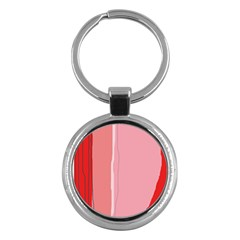 Red And Pink Lines Key Chains (round)  by Valentinaart