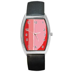 Red And Pink Lines Barrel Style Metal Watch by Valentinaart