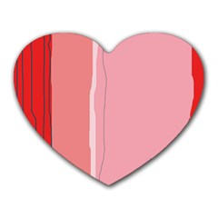 Red And Pink Lines Heart Mousepads by Valentinaart