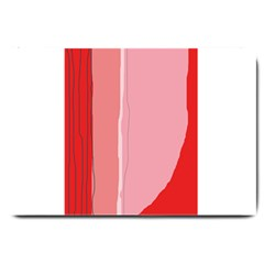 Red And Pink Lines Large Doormat  by Valentinaart