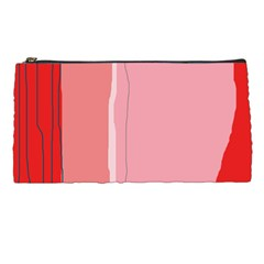 Red And Pink Lines Pencil Cases by Valentinaart