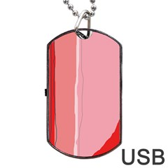 Red And Pink Lines Dog Tag Usb Flash (one Side) by Valentinaart