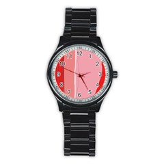 Red And Pink Lines Stainless Steel Round Watch by Valentinaart