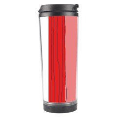 Red And Pink Lines Travel Tumbler by Valentinaart