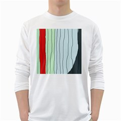 Decorative Lines White Long Sleeve T-shirts by Valentinaart