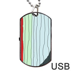 Decorative Lines Dog Tag Usb Flash (one Side) by Valentinaart