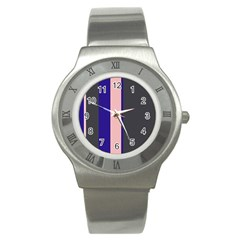 Purple, Pink And Gray Lines Stainless Steel Watch by Valentinaart