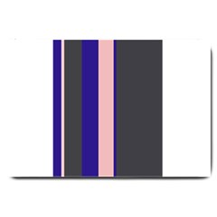 Purple, Pink And Gray Lines Large Doormat  by Valentinaart