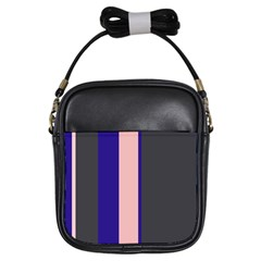 Purple, Pink And Gray Lines Girls Sling Bags by Valentinaart
