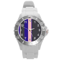 Purple, Pink And Gray Lines Round Plastic Sport Watch (l) by Valentinaart