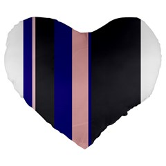 Purple, Pink And Gray Lines Large 19  Premium Heart Shape Cushions