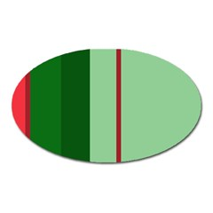 Green And Red Design Oval Magnet by Valentinaart