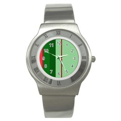 Green And Red Design Stainless Steel Watch by Valentinaart