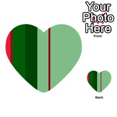Green And Red Design Multi Purpose Cards (heart)