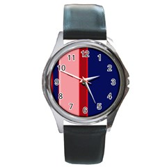 Pink And Blue Lines Round Metal Watch by Valentinaart