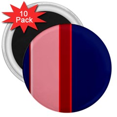 Pink And Blue Lines 3  Magnets (10 Pack)  by Valentinaart