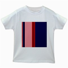 Pink And Blue Lines Kids White T Shirts by Valentinaart