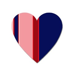 Pink And Blue Lines Heart Magnet by Valentinaart