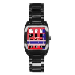 Red Abstraction Stainless Steel Barrel Watch by Valentinaart