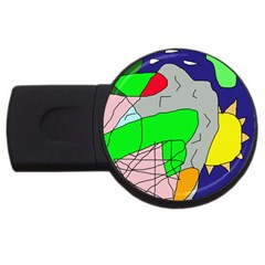 Crazy Abstraction Usb Flash Drive Round (4 Gb)  by Valentinaart