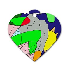 Crazy Abstraction Dog Tag Heart (two Sides) by Valentinaart